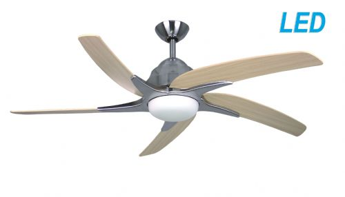 "Fantasia Elite Viper Plus 44"" Stainless Steel Ceiling Fan + Remote Control +  LED Light 116028"